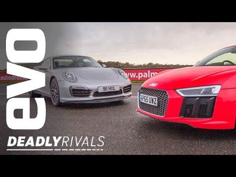 New Audi R8 V10 Plus vs Porsche 911 Turbo S | evo DEADLY RIVALS