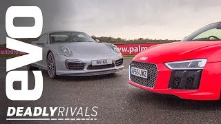 New Audi R8 V10 Plus vs Porsche 911 Turbo S | evo DEADLY RIVALS