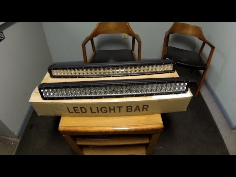 """32 Inch """"Cheap Ebay"""" Cree LED Light Bar Review Straight Vs Curved"""