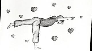 yoga drawing easy draw pencil