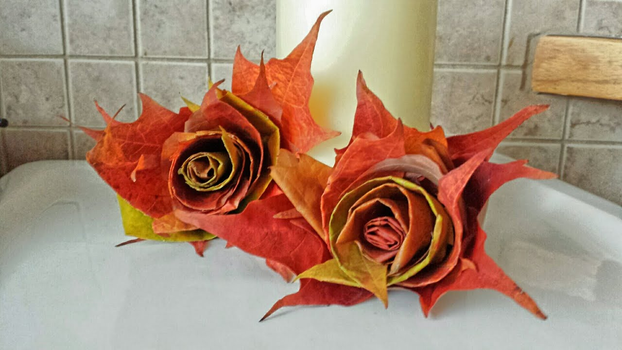 Fall Leaves Pictures Wallpaper How To Make Rolled Leaf Roses With Maple Leaves Youtube