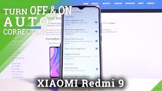 Параметры клавиатуры XIAOMI Redmi 9 - функция автокоррекции текста
