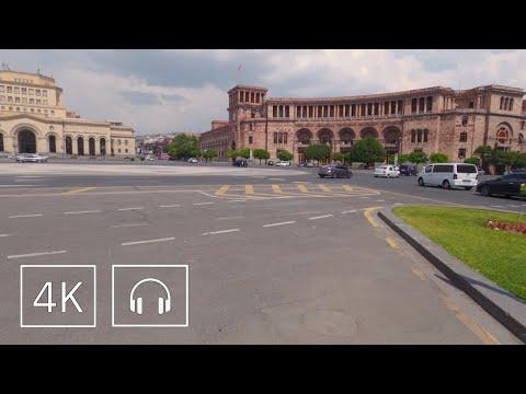 Walking Republic Square \u0026 Northern Ave., Yerevan, Armenia 4K In Summer 2020 W/ Binaural Sound