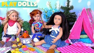 Play American Girl Doll Summer Camp Picnic Food Toys!