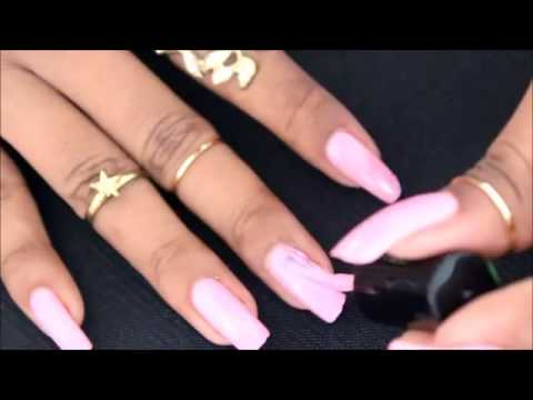 Beyonceesha, pink painting on her long nails (video 41) - YouTube