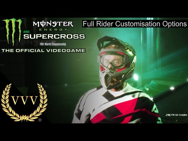 Monster Energy Supercross Full Rider Customisation Options