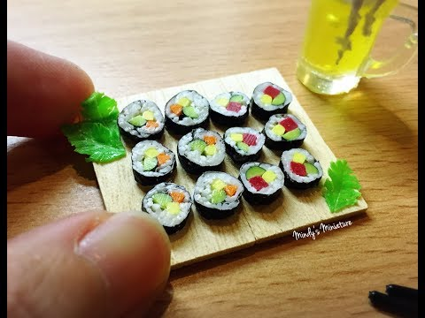 Realistic resin(air dry) clay sushi roll tutorial by Mindy's Miniature