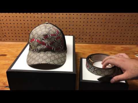c4e31b1350a316 Gucci Snake print GG Supreme Belt And Baseball Hat Review - YouTube