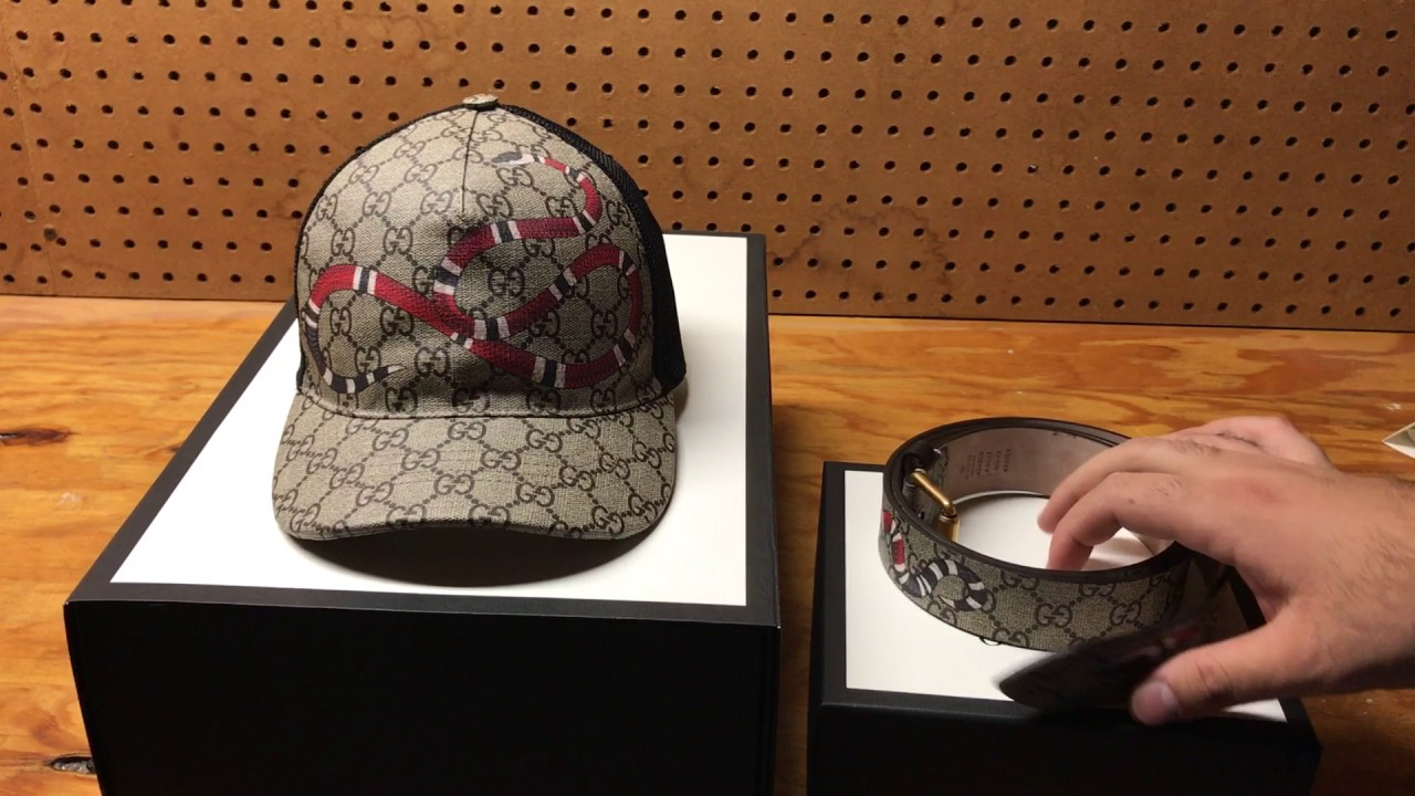 3518bfc767b07e Gucci Snake print GG Supreme Belt And Baseball Hat Review - YouTube