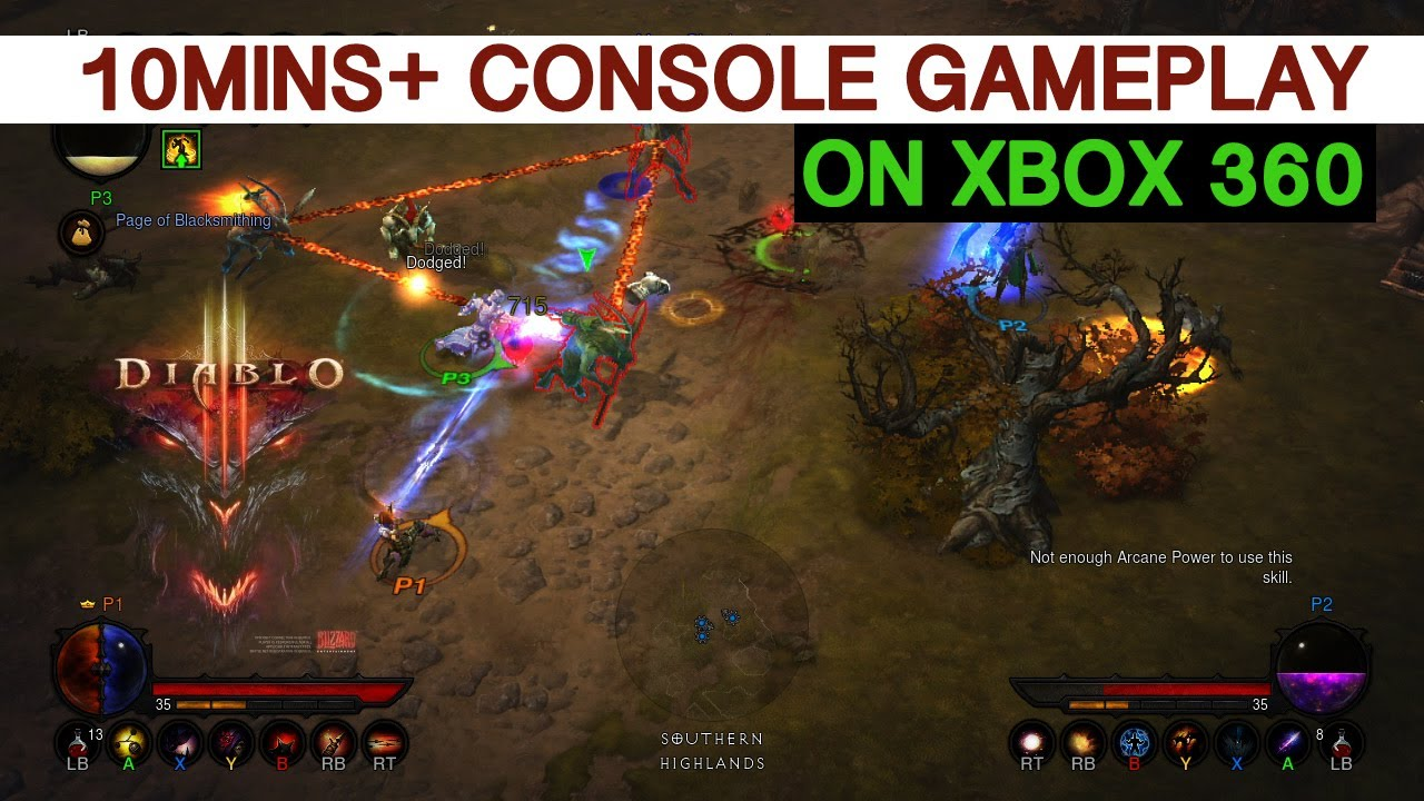 Diablo 3 Console Version - 10mins+ Gameplay on Xbox 360