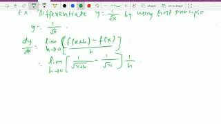 calculus differentiation square root of x and 1 x by first principle 5