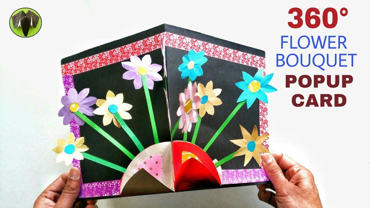 360 Flower Bouquet Popup Card Diy Tutorial 919 Cards Pop Up Cards Diy Cards