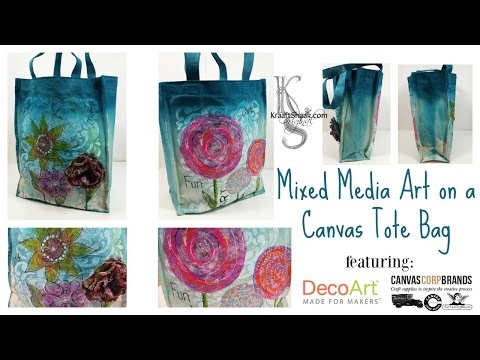 Mixed Media Art on a Canvas Tote Bag