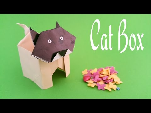 "How to make a paper ""Cat box"" - Useful Origami tutorial"