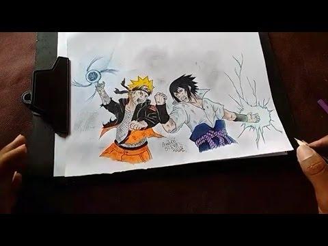 speed drawing naruto vs sasuke batalha final youtube