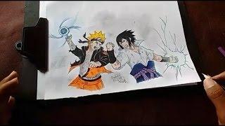 Speed Drawing - Naruto vs Sasuke ( batalha final )