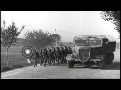 Surrender of German forces to US soldiers in Turin, Italy during World War 2. HD Stock Footage
