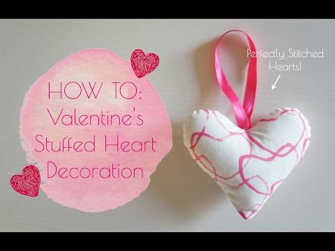 DIY Fabric Valentine's Stuffed Heart Decorations