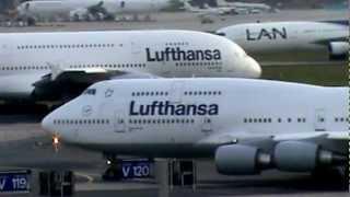 Airport Frankfurt - Start A380 und Boing 747 (Direkter Größenvergleich)