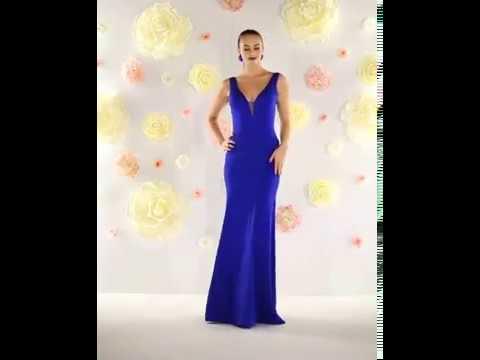 Shop MarlasFashions.com for long, v neck, royal blue bridesmaid dresses