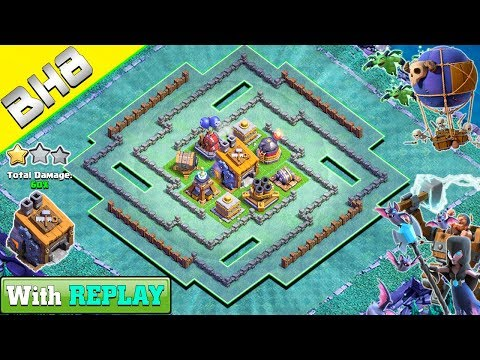 BEST Builder Hall 8 BASE WITH REPLAY 2018 | CLASH OF CLANS