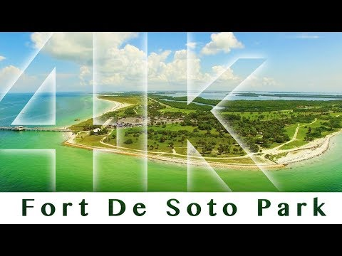 Beautiful Aerial View of Fort De Soto Park Pinellas County Florida 4K UHD