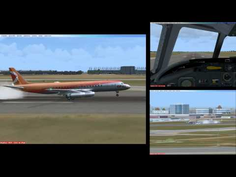 FSX CP Air DC 8 41 landing on unway 24R at YUL