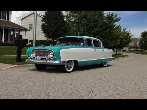 1955 Nash Ambassador Super in Caribbean Blue & White & Start Up on My Car Story with Lou Costabile