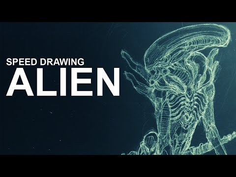 Speed Drawing : ALIEN ( pencil sketch, ink, colors)