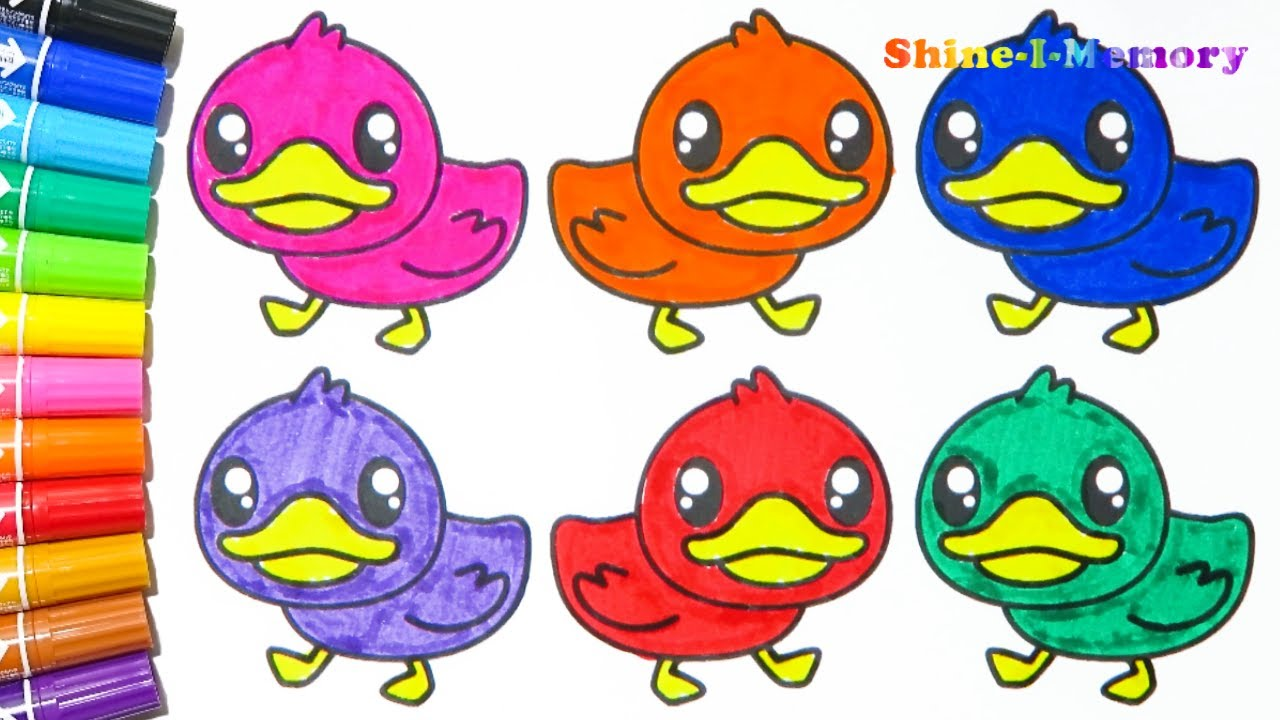 Learn Colors with Animals Cute Duck for Kids - Drawing Cartoons Coloring  Books Painting 0095063232405