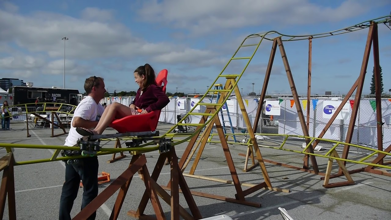 diy homemade roller coaster at 2015 makers faire in san mateo