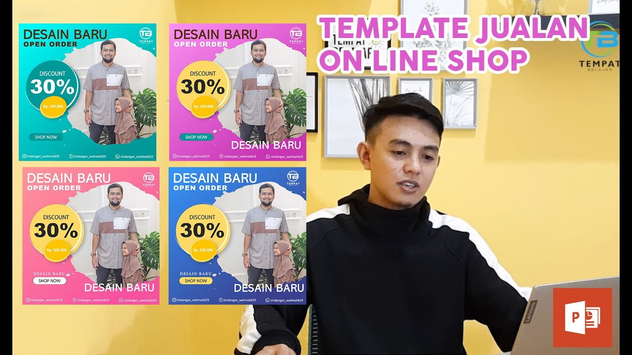 Template keren desain Jualan online (OLSHOP) dengan Power point