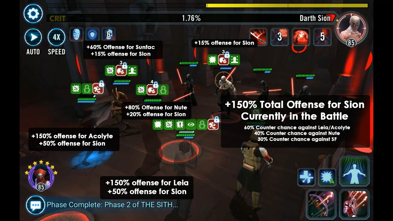 Sith Triumvirate Raid Phase 2 Darth Sion Cycle of Pain / Suffering  Mechanics & Tips SWGOH