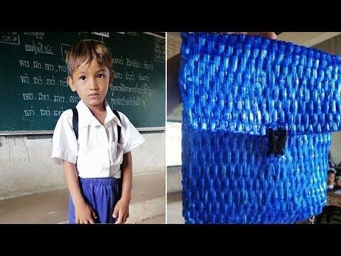Отец из Камбоджи не мог купить сыну школьный рюкзак и тогда он сделал его своими руками