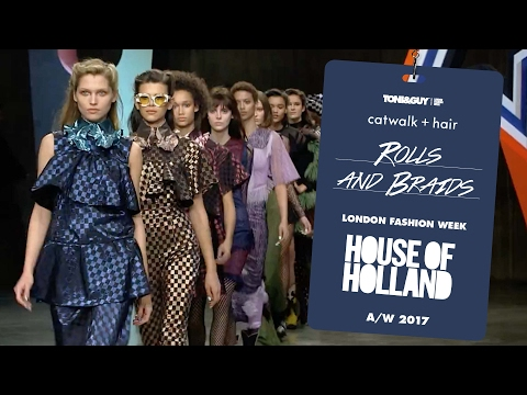 Catwalk hair: rolls and braids for House of Holland at London Fashion Week AW17
