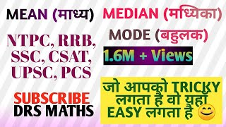 Mean, Median & Mode (माध्य मध्यिका और बहुलक) - Statistics (सांख्यिकी)