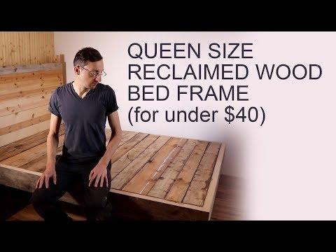 DIY Reclaimed Wood Queen Bed Frame For Under $40