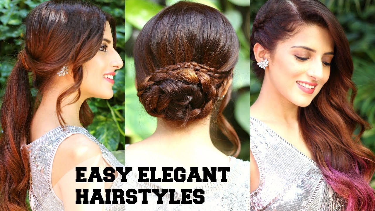 3 EASY Elegant Romantic Hairstyles / Indian Party Hairstyles For Medium To Long  Hair/ BBLUNT   YouTube