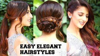3 EASY Elegant Romantic Hairstyles / Indian Party Hairstyles For Medium To Long Hair/ BBLUNT