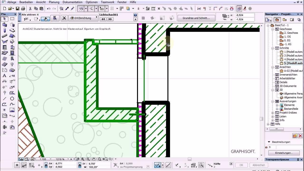 Bekannt Archicad 16 Basics 26 Tut Kellerfenster und Lichtschacht - YouTube EO07