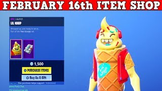Fortnite Item Shop (FEBRUARY 16th) | *NEW* LIL WHIP SKIN + SPRINKLES WRAP!