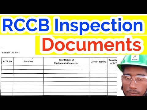 RCCB Inspection Test Register / Use Of Safety Inspection Checklist