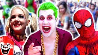 JOKER vs SAN DIEGO COMIC CON! Harley Quinn, Spider-Man | Real Life Superhero Movie - MELF