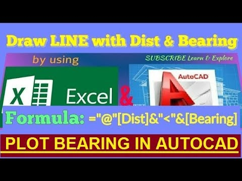 How to Plot Bearing and Distance in AutoCAD using Excel // L