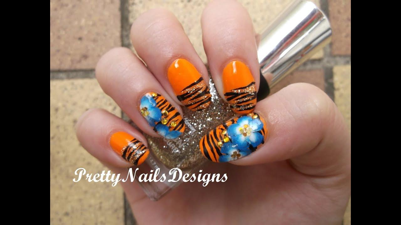 Neon Orange Zebra Print and One Stroke Flowers - YouTube