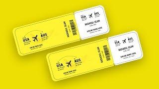 Event Ticket Design (Air Ticket) | Photoshop Tutorial