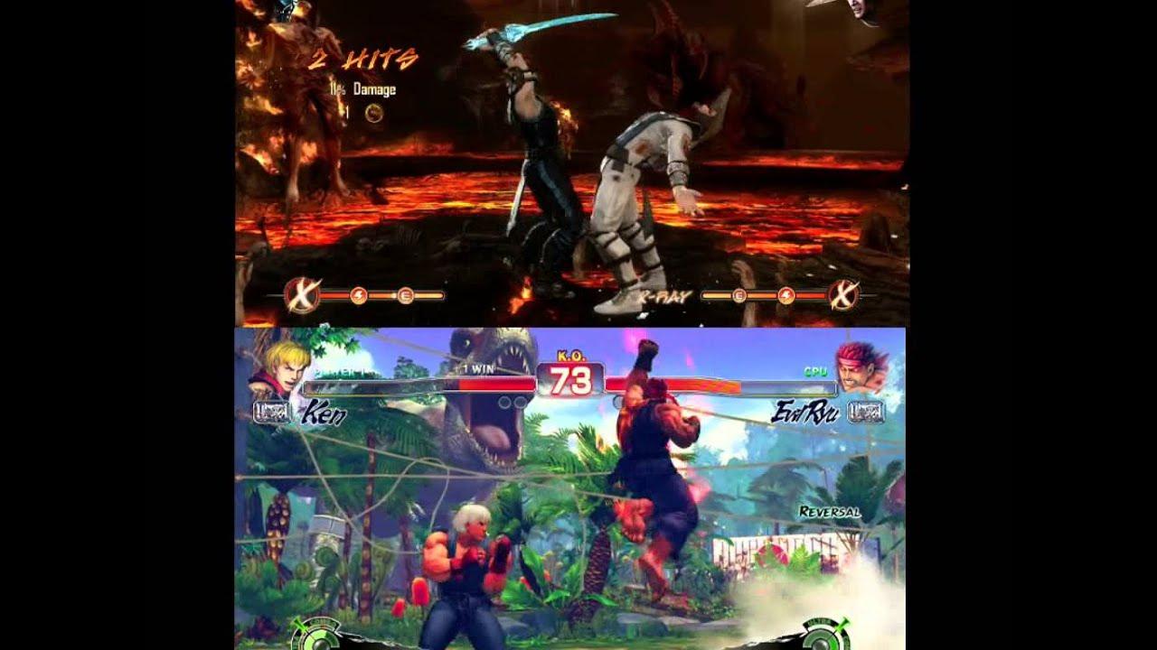 Ultra Street Fighter 4 Vs Mortal Kombat 9 Gameplay Split Screen