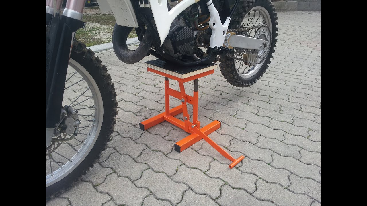 Alzamoto fai da te homemade dirt bike lift stand youtube for Cavalletto alzamoto fai da te