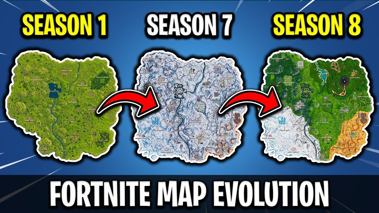 fortnite map evolution seasons 1 8 - 83 map changes fortnite