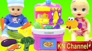 ĐỒ CHƠI NHÀ BẾP MỚI CỦA BÚP BÊ BABY ALIVE DOLL   Fruit vegetable wash and cutting kitchen toys